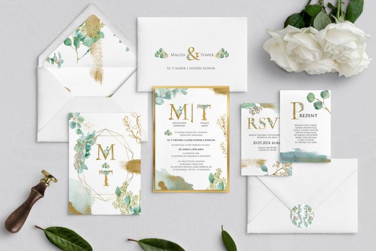Zaproszenia ślubne Golden Green - Motyw 1