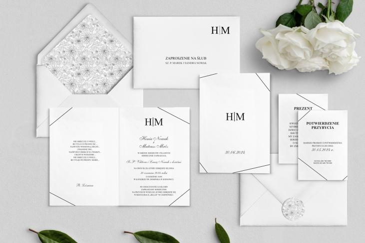 Zaproszenia ślubne Elegance - Składane Motyw 1