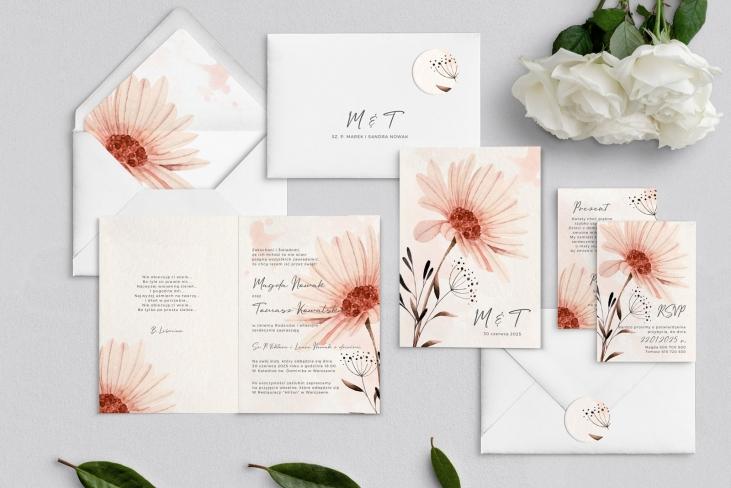 Zaproszenia ślubne Natalie - Składane Motyw 1