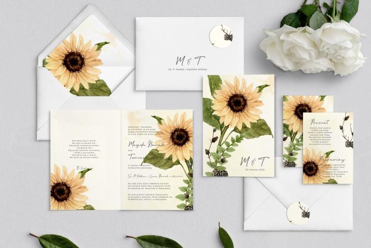 Zaproszenia ślubne Natalie - Składane Motyw 2
