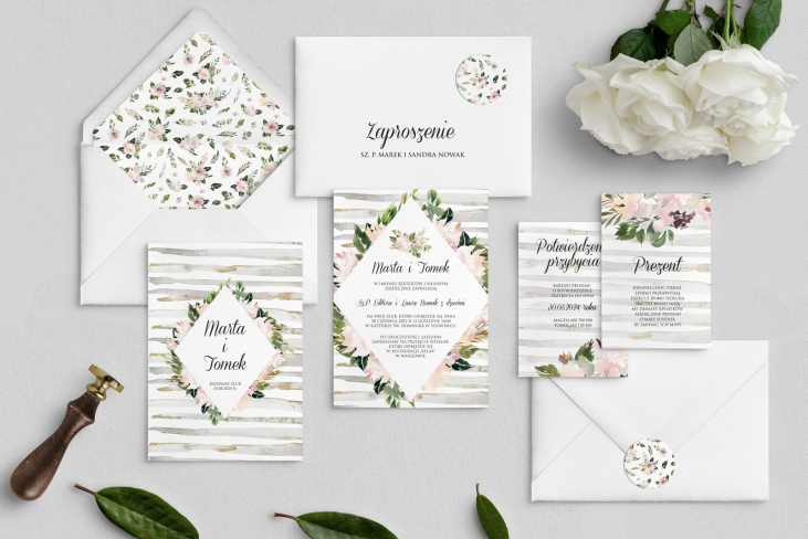 Zaproszenia ślubne Akwarelka - Motyw 1