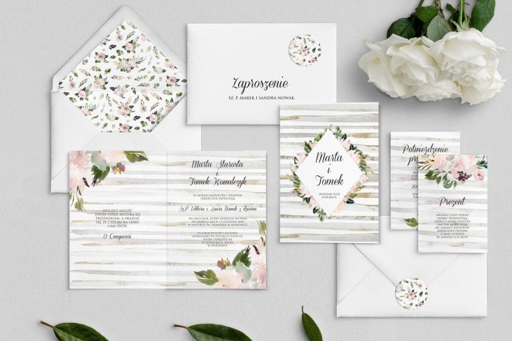 Zaproszenia ślubne Akwarelka - Składane Motyw 1