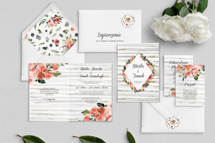 Zaproszenia ślubne Akwarelka - Składane Motyw 2