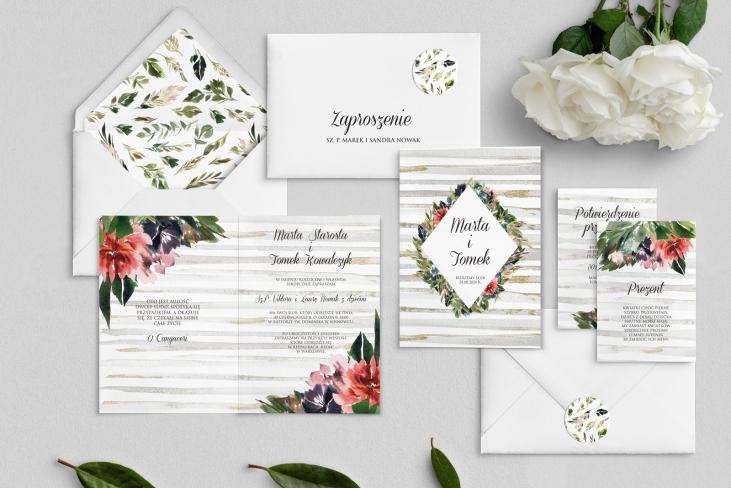 Zaproszenia ślubne Akwarelka - Składane Motyw 3