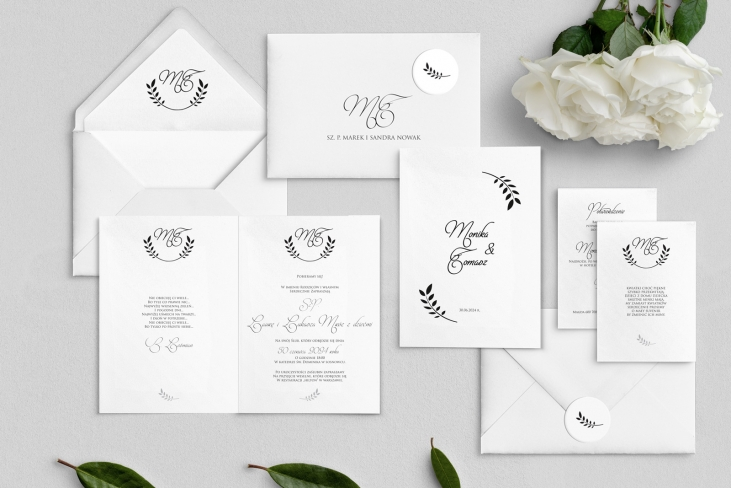Zaproszenia ślubne Alloro - Składane Motyw 1