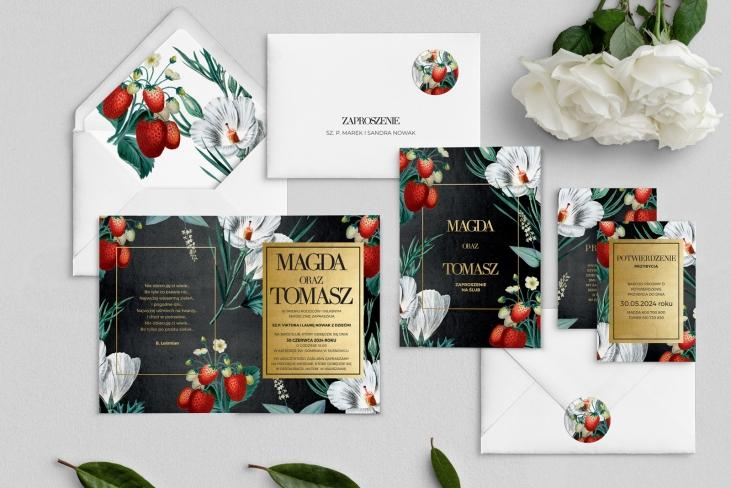Zaproszenia ślubne Amore - Składane Motyw 3