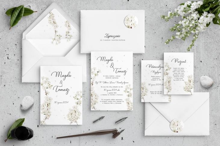 Zaproszenia ślubne Biały Czas - Motyw 1