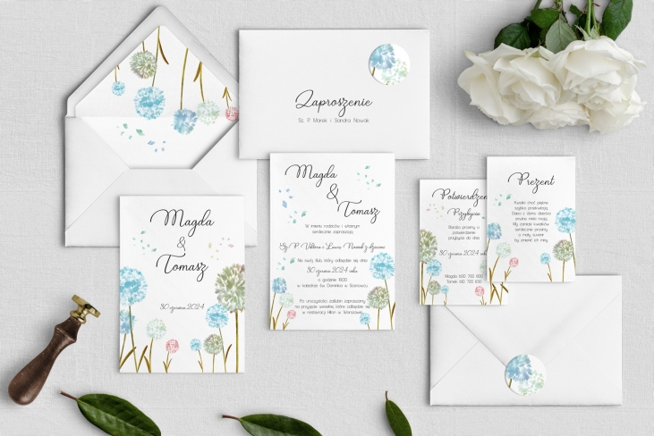 Zaproszenia ślubne Biały Czas - Motyw 4