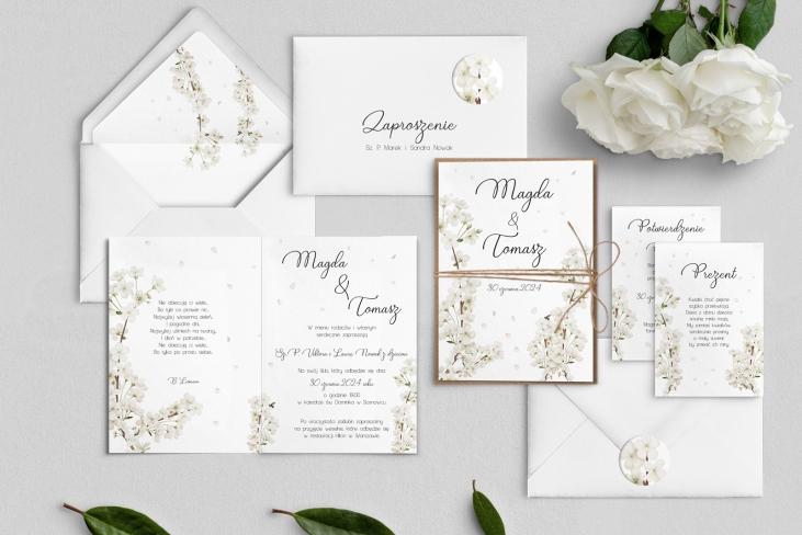 Zaproszenia ślubne Biały Czas - Składane Motyw 1