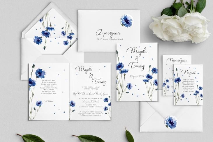 Zaproszenia ślubne Biały Czas - Składane Motyw 2