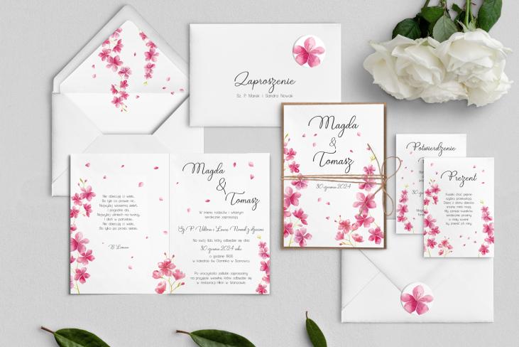 Zaproszenia ślubne Biały Czas - Składane Motyw 3