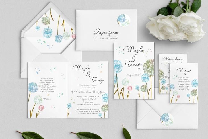 Zaproszenia ślubne Biały Czas - Składane Motyw 4