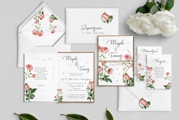 Zaproszenia ślubne Biały Czas - Składane Motyw 5