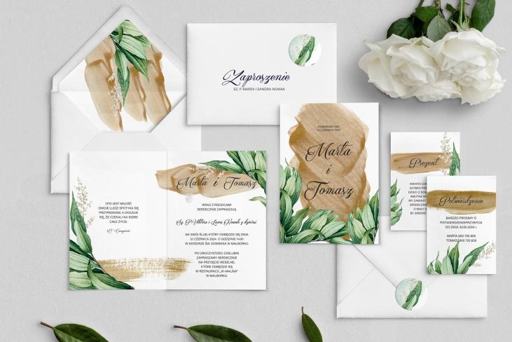 Zaproszenia ślubne Charlotte- Składane Motyw 1