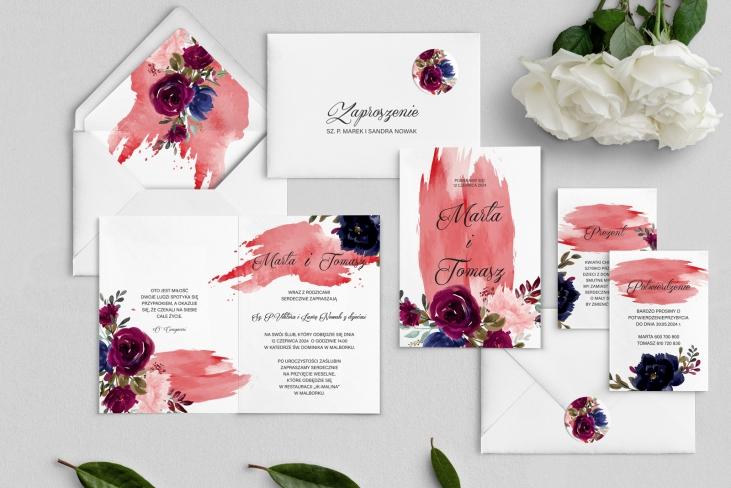 Zaproszenia ślubne Charlotte- Składane Motyw 3