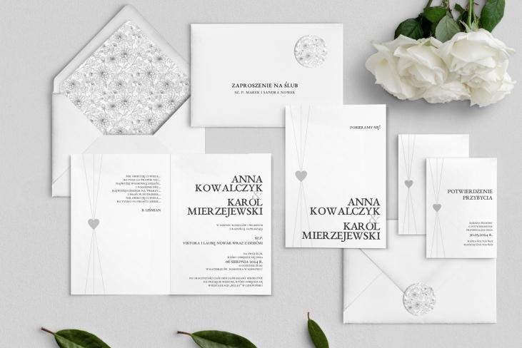 Zaproszenia ślubne Elegance - Składane Motyw 2