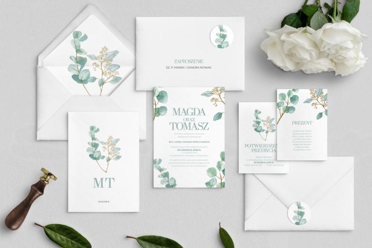 Zaproszenia ślubne Eukaliptus - Motyw 1