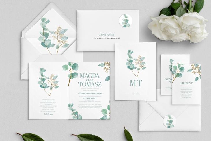 Zaproszenia ślubne Eukaliptus - Składane Motyw 1