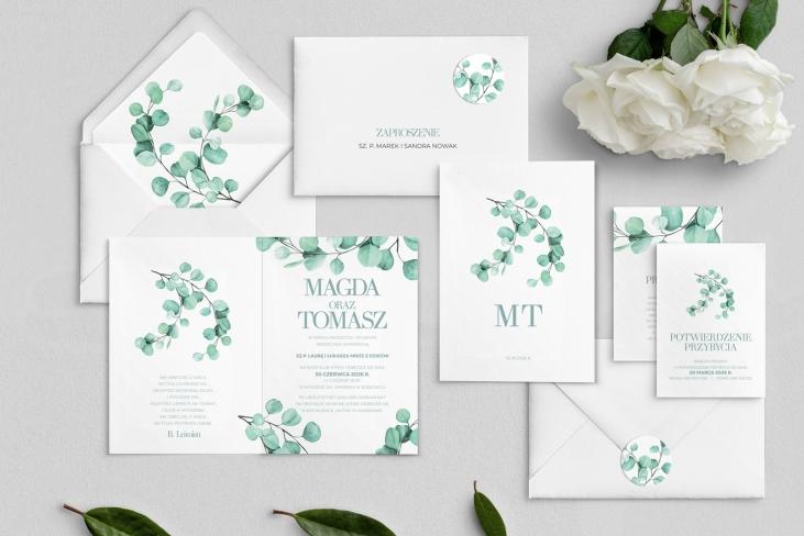 Zaproszenia ślubne Eukaliptus - Składane Motyw 2
