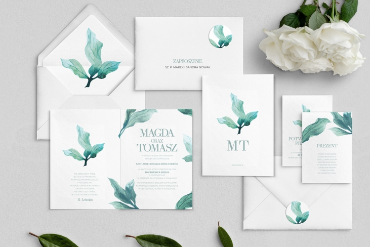 Zaproszenia ślubne Eukaliptus - Składane Motyw 3