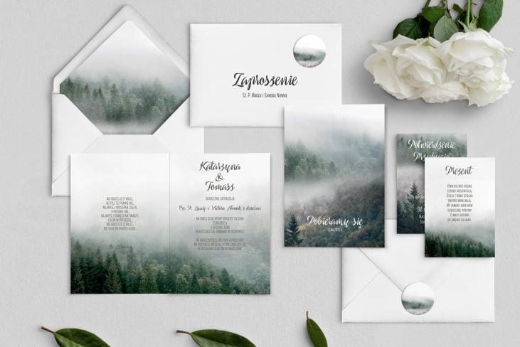 Zaproszenia ślubne Forest - Składane Motyw 2