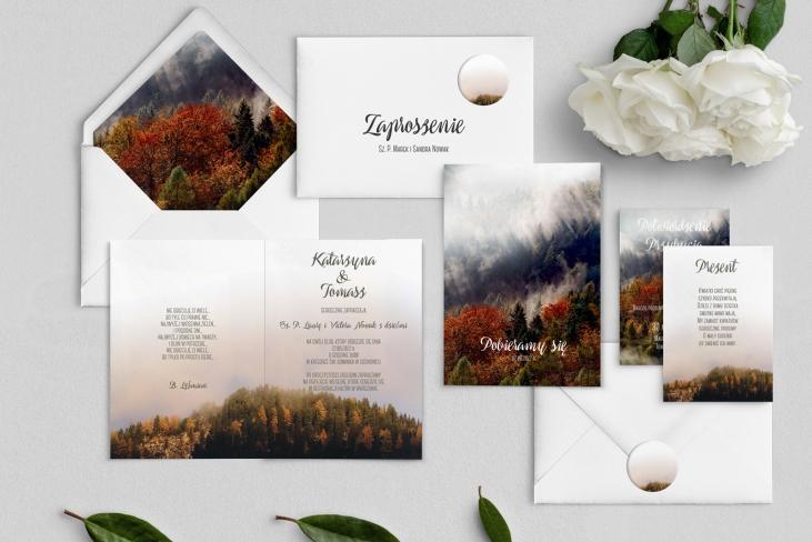 Zaproszenia ślubne Forest - Składane Motyw 3