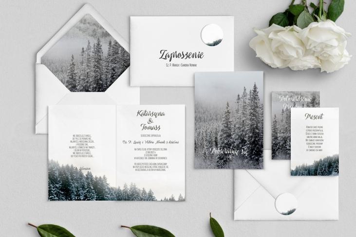 Zaproszenia ślubne Forest - Składane Motyw 4