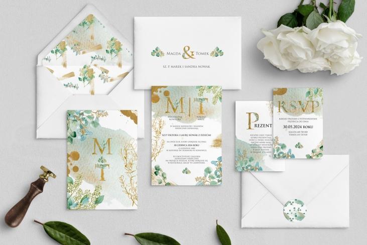 Zaproszenia ślubne Golden Green - Motyw 3