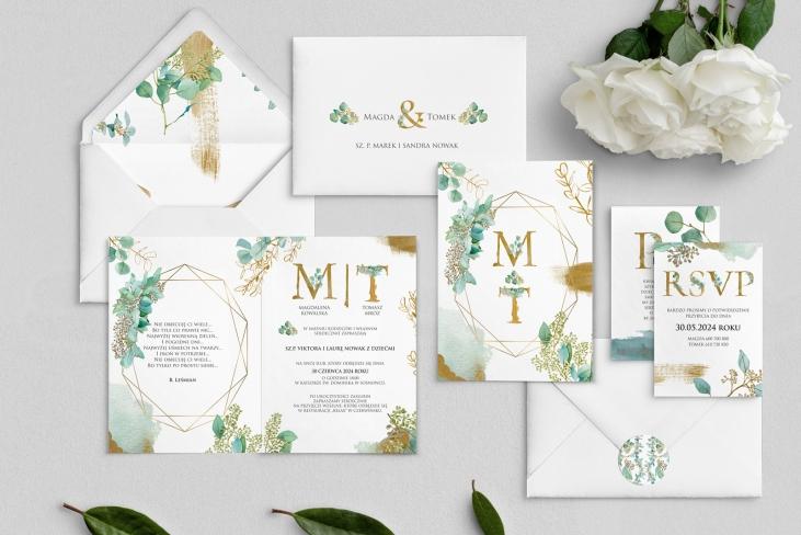 Zaproszenia ślubne Golden Green - Składane Motyw 1