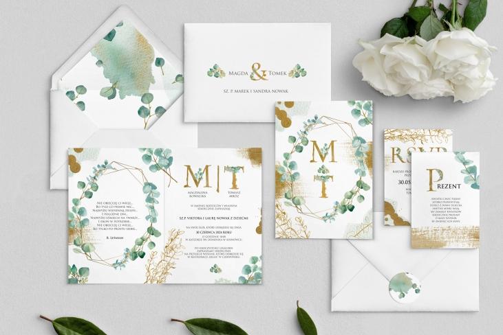 Zaproszenia ślubne Golden Green - Składane Motyw 2