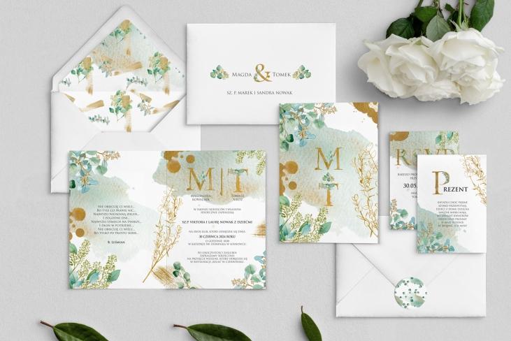 Zaproszenia ślubne Golden Green - Składane Motyw 3