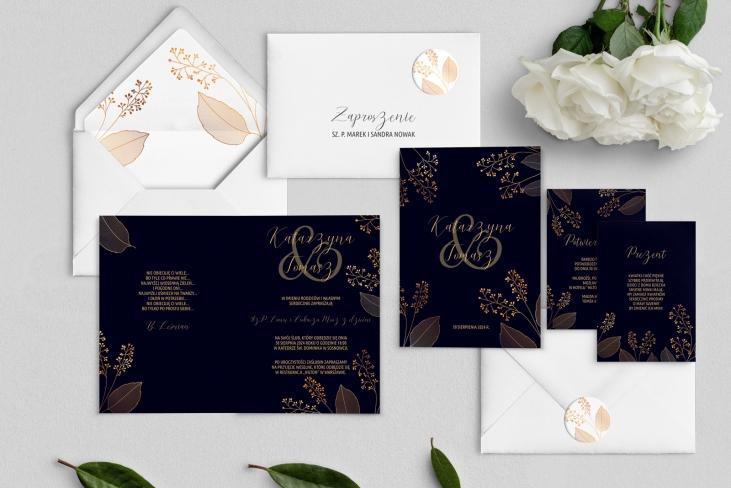 Zaproszenia ślubne Goldish - Składane Motyw1