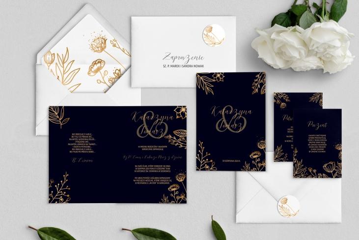 Zaproszenia ślubne Goldish - Składane Motyw2