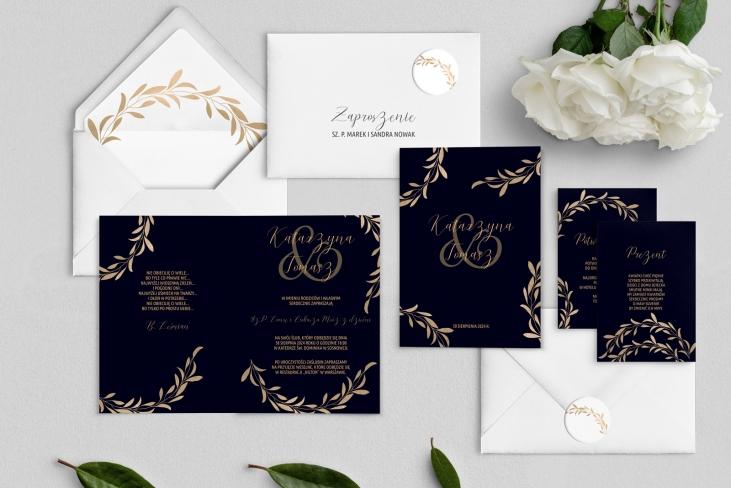 Zaproszenia ślubne Goldish - Składane Motyw3