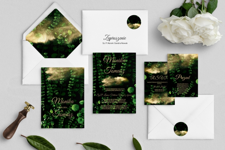 Zaproszenia ślubne Greenery- Motyw3