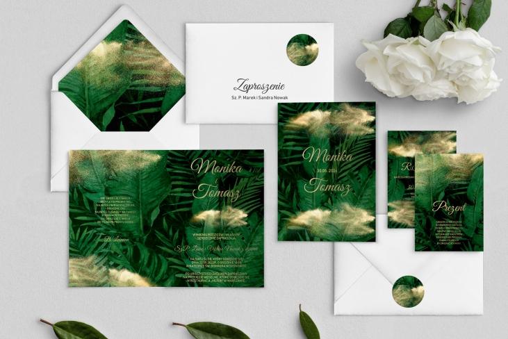 Zaproszenia ślubne Greenery - Składane Motyw2