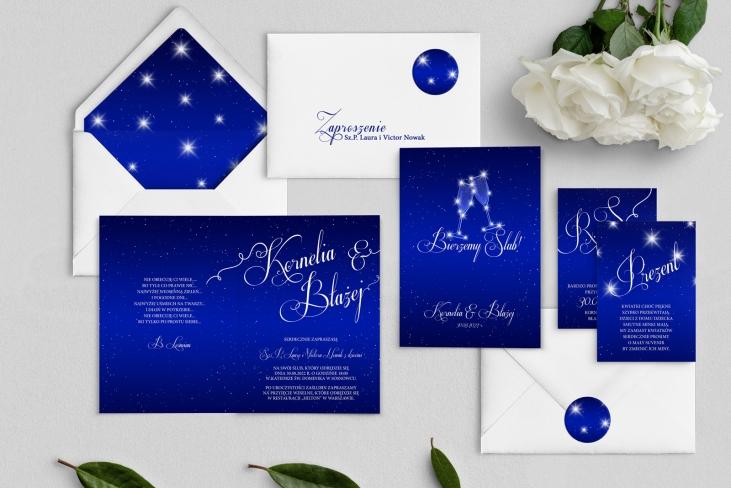 Zaproszenia ślubne Gwiaździsta Noc - Składane Motyw 4