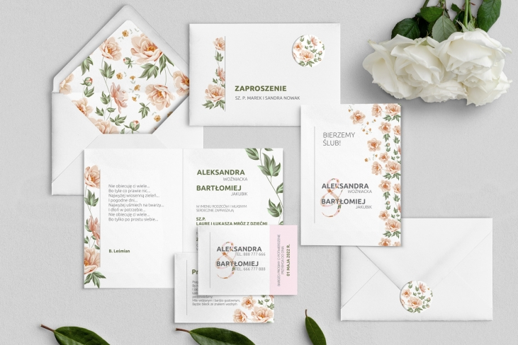 Zaproszenia ślubne Lea - Składane Motyw 3