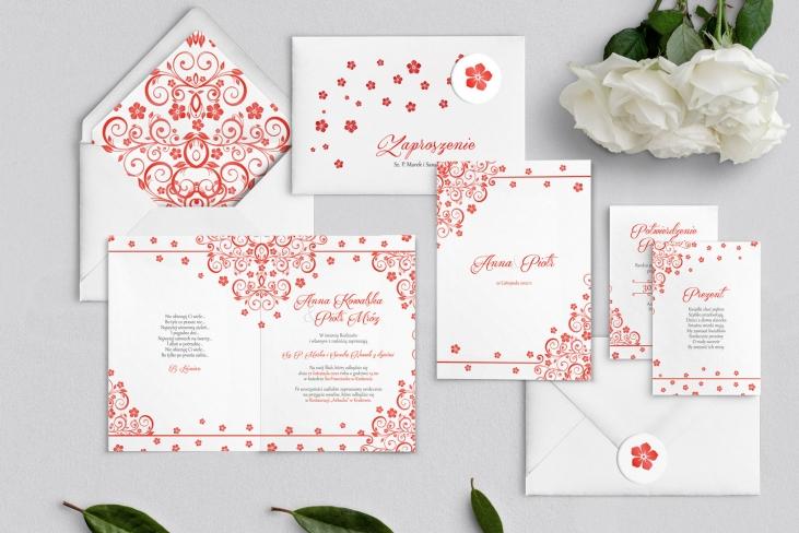 Zaproszenia ślubne Maja - Składane Motyw Czerwone