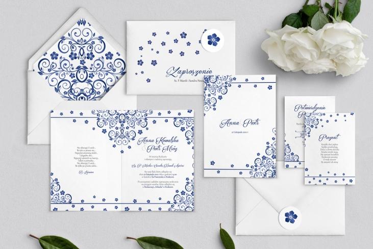 Zaproszenia ślubne Maja - Składane Motyw  Granatowy