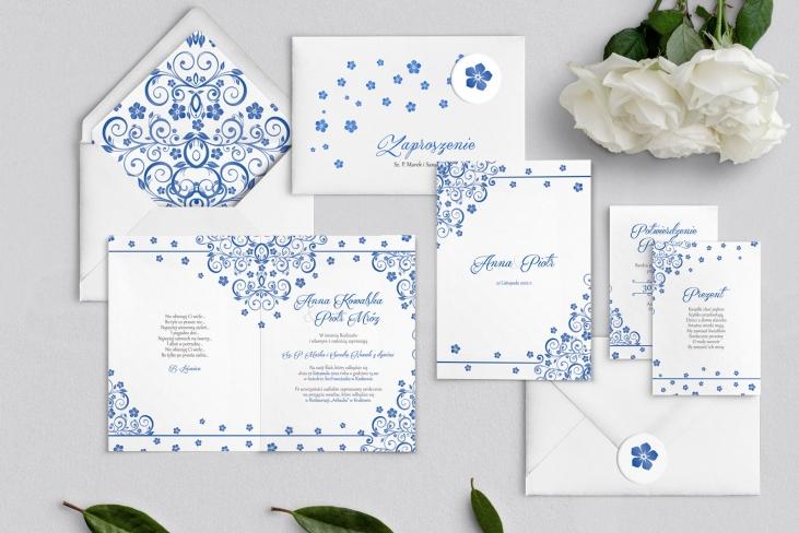 Zaproszenia ślubne Maja - Składane Motyw Niebieski
