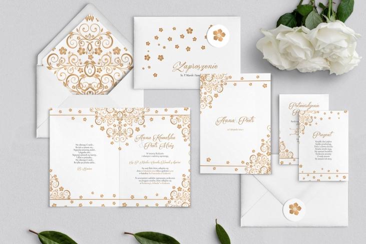 Zaproszenia ślubne Maja - Składane Motyw Złote