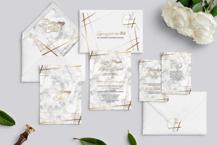 Zaproszenia ślubne Marmur & Złoto - Motyw 2