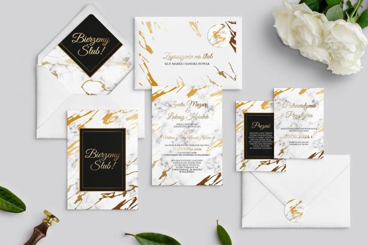Zaproszenia ślubne Marmur & Złoto - Motyw 3
