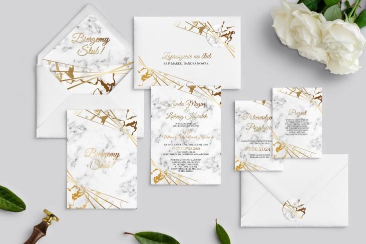 Zaproszenia ślubne Marmur & Złoto - Motyw 4