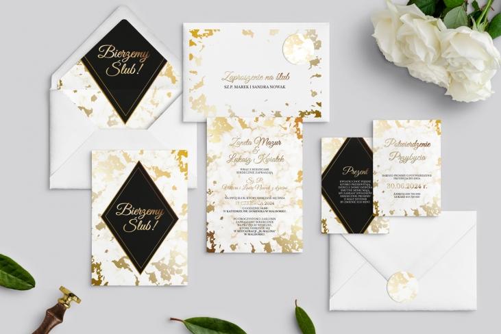 Zaproszenia ślubne Marmur & Złoto - Motyw 5