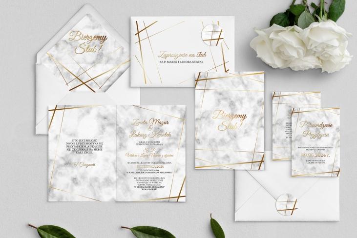 Zaproszenia ślubne Marmur & Złoto - Składane Motyw 2