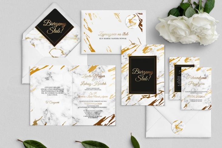 Zaproszenia ślubne Marmur & Złoto - Składane Motyw 3