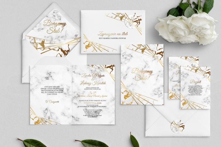 Zaproszenia ślubne Marmur & Złoto - Składane Motyw 4
