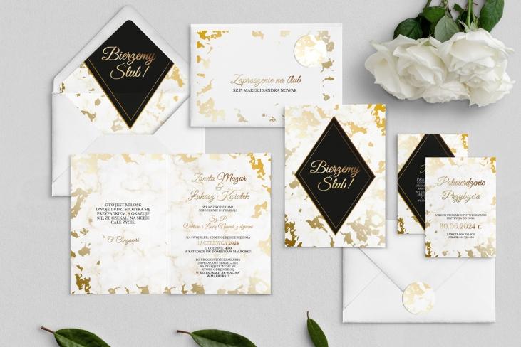 Zaproszenia ślubne Marmur & Złoto - Składane Motyw 5